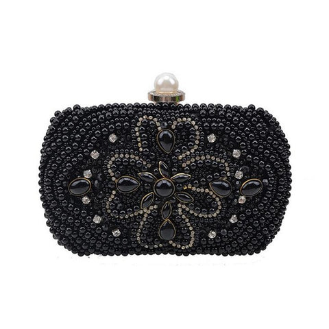Luxe pearl clutch bags crystal - FabFunBride