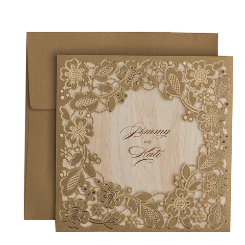 50pcs/lot Gold Flowers Paper Cardstock Laser Cut Wedding Invitations Cards for Bridal Shower Marriage Engagement ,Customizable - FabFunBride