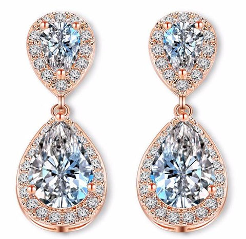 Classic Elegant Bridal Women Drop Earrings Rose Gold Color Teardrop Cubic Zircon Jewelry For Wedding Party FWEP514 - FabFunBride