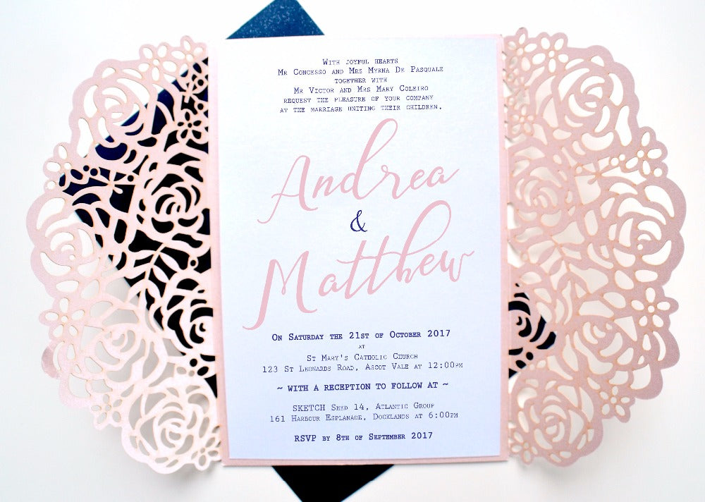 50pcs Personalized PINK Rose Laser cut Elegant Wedding Invitation/ Mod