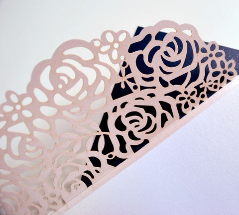 50pcs Personalized PINK Rose Laser cut Elegant Wedding Invitation/ Modern Wedding/monogram wedding invitations - FabFunBride