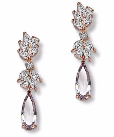 Luxury Brand Rose Gold Color Drop Earrings AAA Zircon High Quality - FabFunBride