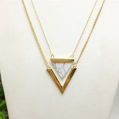 Minimalist Triangle V Double-Neck Faux Marble Pendant Necklace - FabFunBride