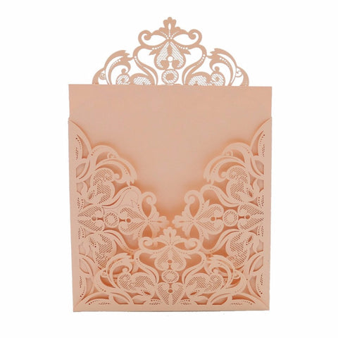 25pcs A Set Laser Cut Invitations Cards, Lace Lasercut Invitation Kit for Wedding Bridal ShowerParty (Pink/blush) - FabFunBride