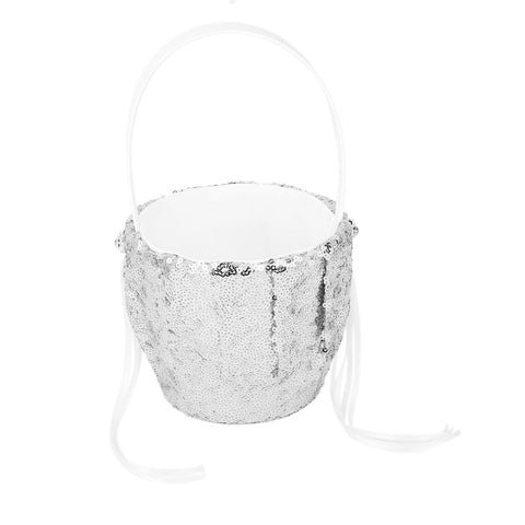Wedding Decoration Party Ceremony Supplies Vintage Wedding Flower Girl Basket with Sequins Ribbon Decor Silver - FabFunBride