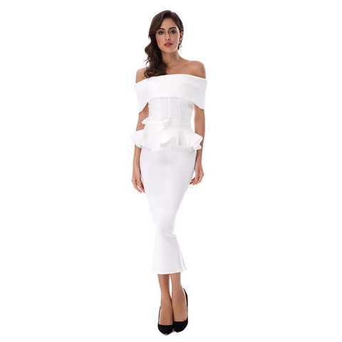 White Slash Neck Short Sleeve Celebrity - FabFunBride