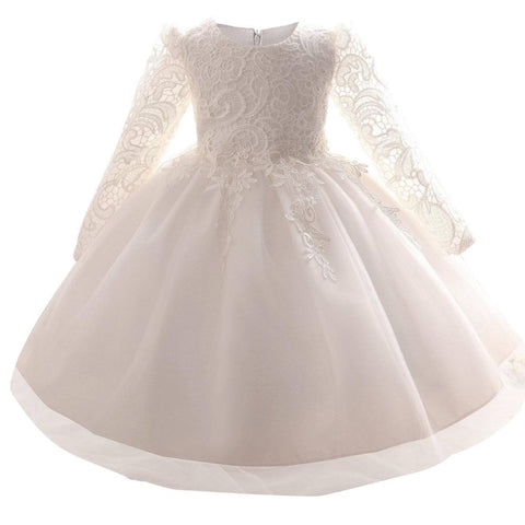 White Dresses For Girls Lace Infant Long sleeve lace - FabFunBride