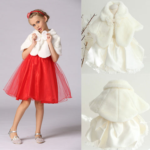 Kids Girls Faux Fur Cape FlowerGirl Bolero Shrug 2-13Y - FabFunBride