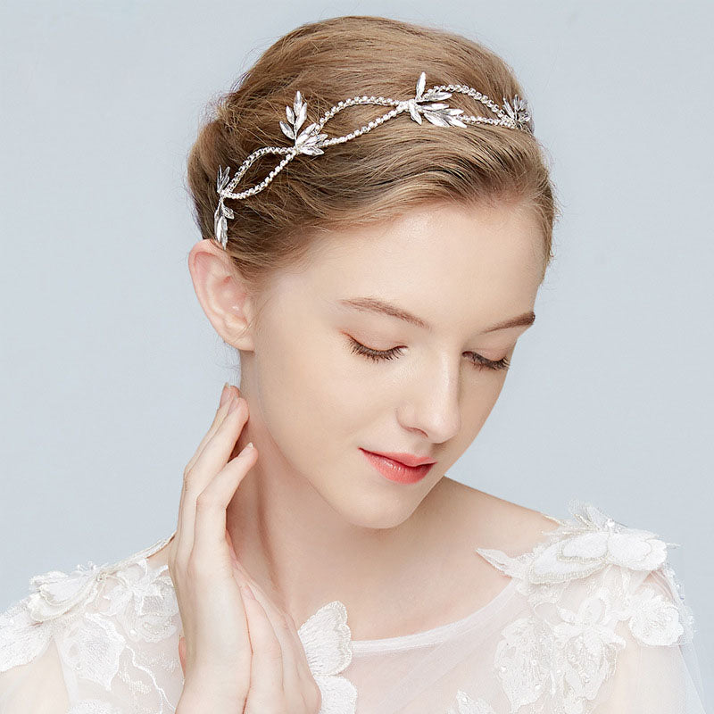 Gorgeous Ribbon Wired Crystal Rhinestone Bridal Headband - FabFunBride