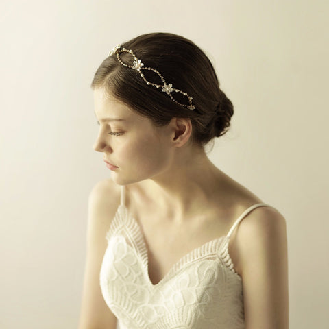 Gorgeous Wired Crystals Pearls Flower Leaf Wedding Hair - FabFunBride