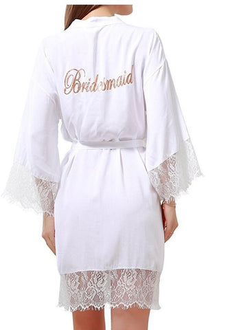 Cotton Kimono Robe with Gold Glitter Bridesmaid Bride Lace Trim - FabFunBride