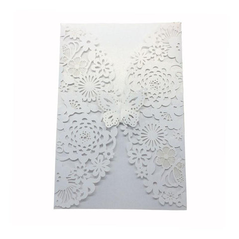 Vertical Laser Cut Butterfly Invitations Cards Kits for Wedding Bridal Shower - FabFunBride