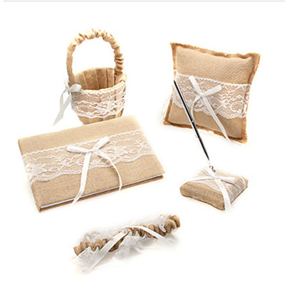 5Pcs/set linen lace wedding Ring Pillow + Girls Flower Basket +Guest Book Sign Pen Garter Set - FabFunBride