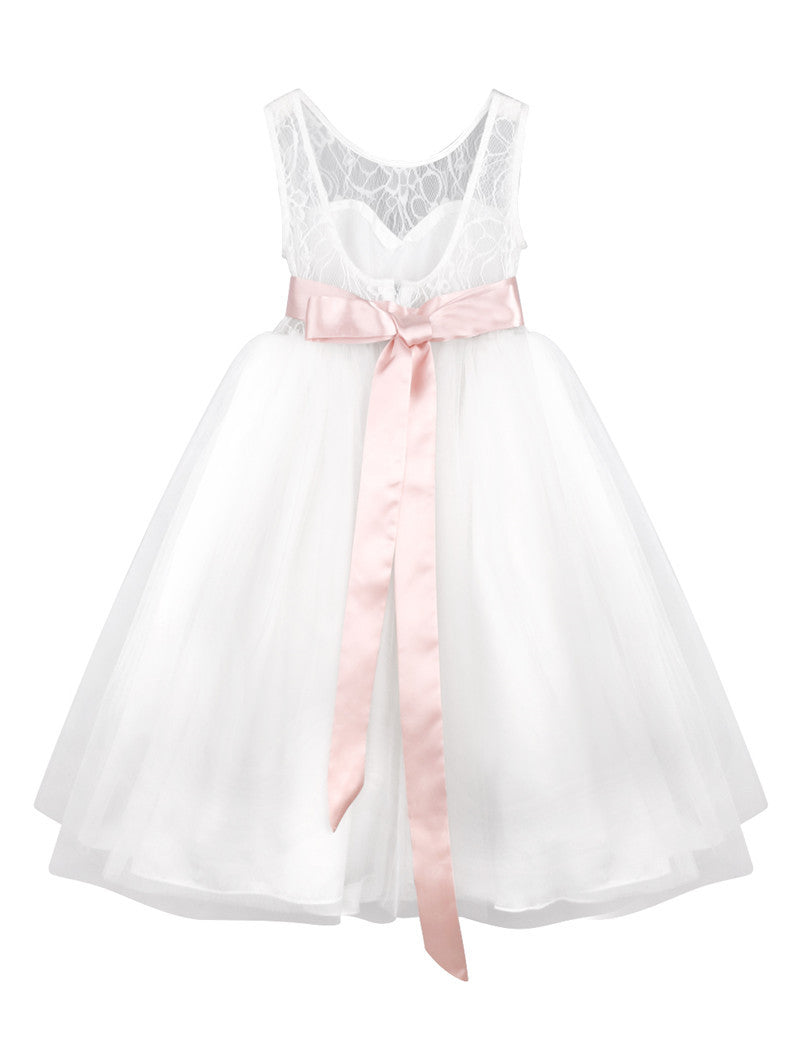 Gorgeous White Tulle Lace Infant Toddler Flower Girl Dresses f - FabFunBride