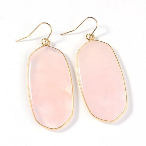 Rose Pink Quartz Oval Earrings Bridesmaid - FabFunBride