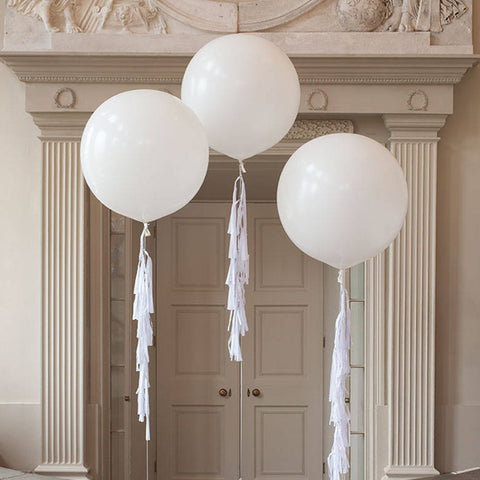 "36"" White Round Balloons with Tassels (Set--3 pcs) - FabFunBride"