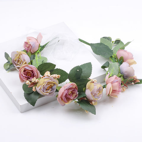 Flower Crown Silk Flowers Head Wreath Headpiece Wedding - FabFunBride