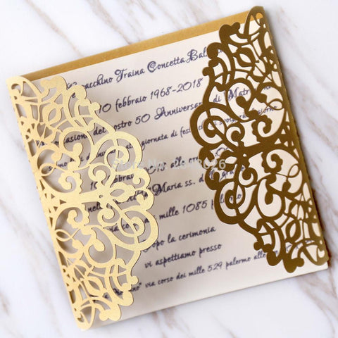 Custom 50pcs Gold laser cut custom invitations Wedding or Bridal Shower - FabFunBride