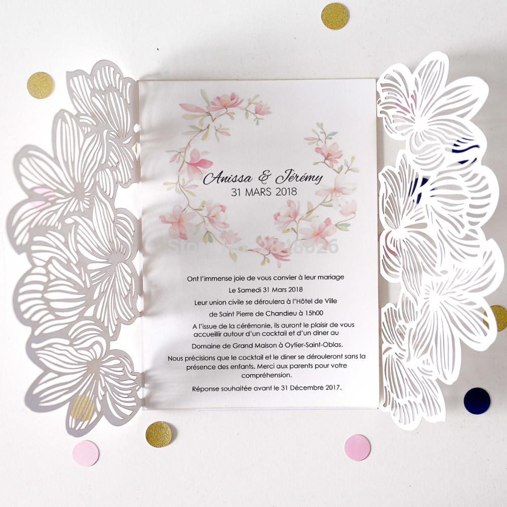 personalized flower wedding invitation flower laser cut invitation e