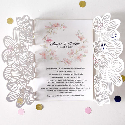 Personalized flower Wedding Invitation, Flower Laser Cut Invitation, Elegant Wedding,Baby Shower - FabFunBride