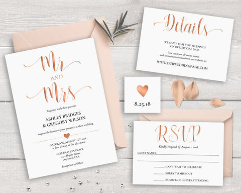 Simple Rose Gold Wedding Invitations - FabFunBride