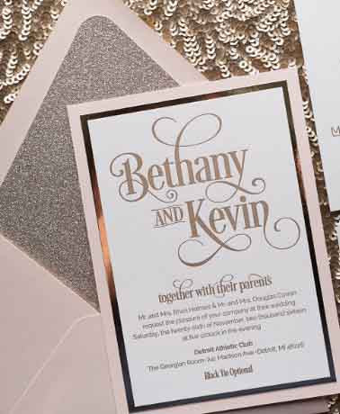 Pink Blush Rose Gold Wedding Invitations (100pcs) - FabFunBride