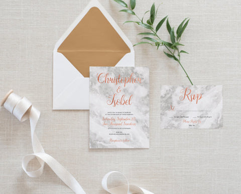 Rose Gold Marble Wedding Invitations with RSVP - FabFunBride