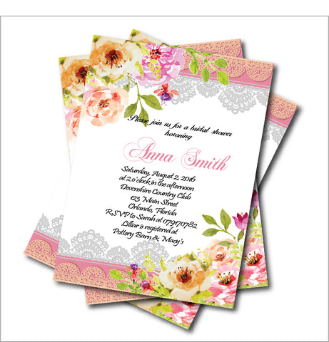 20pcs/lot Vintage Lace Bridal Shower Wedding Invitation Watercolor flower Invite Rustic Summer - FabFunBride