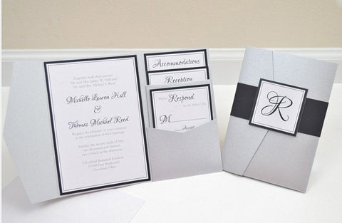 Assembled Pocketfold Wedding Invitations (100pcs) - FabFunBride