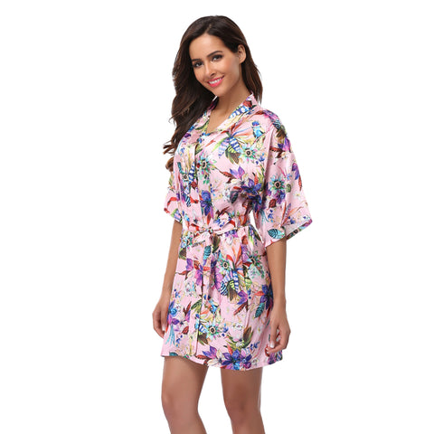 Women bathrobe Floral Kimono Robe Short Lingerie Nightdress Sexy Sleepwear V-neck Bath Robe Nightgown Bride Robes Size S-XXL - FabFunBride