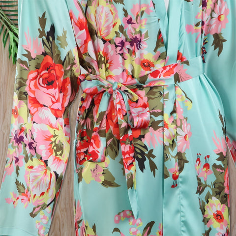 Long Sleeve Bridesmaid Floral Robes Green - FabFunBride