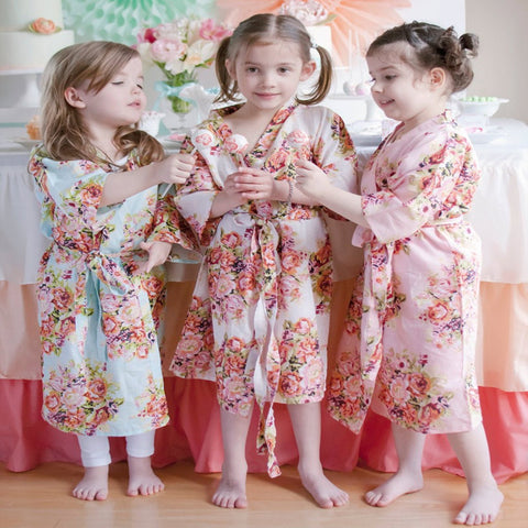 Kids Flower Gown Wedding Stain Robes For Girls Floral Silk NightGown Children's Bathrobe Bridesmaid Party Kimono Evening Gowns - FabFunBride