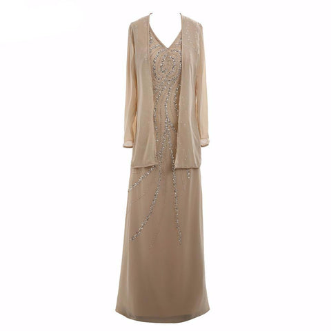 A-Line V-neck Ankle-length Chiffon Mother of the Bride Dress With Jacket Ruffle Beaded Plus Size - FabFunBride