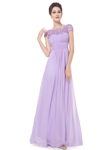 Elegant Women Long Bridesmaid Dress Chiffon Lace Formal - FabFunBride