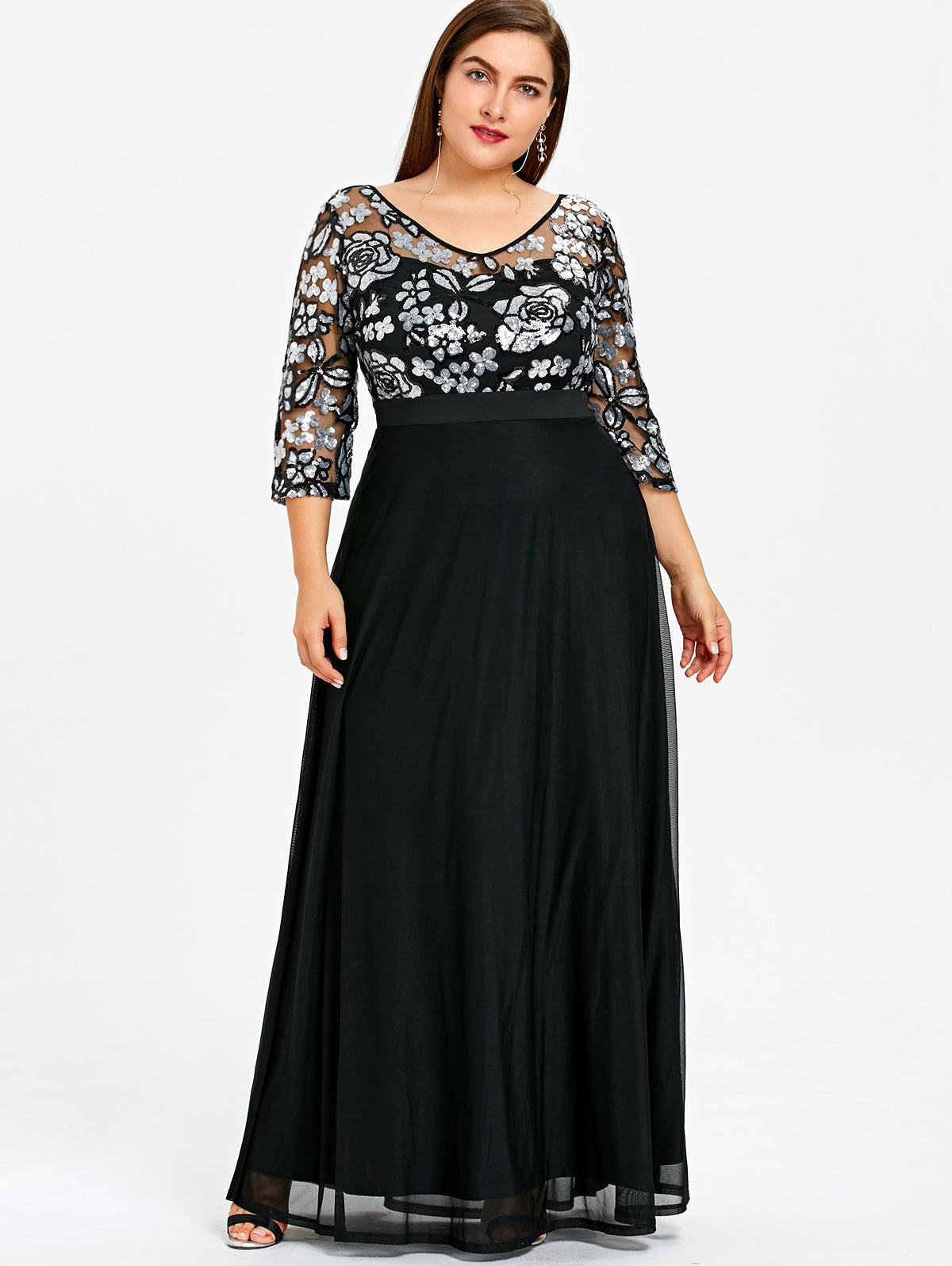 Plus Size Long Dress Women Sequined Floral Dress Robe Elegant Lace Formal