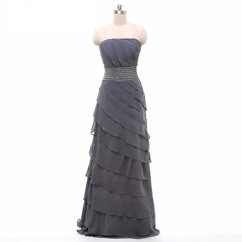 Long Gray A-Line Mother Of The Bride Dresses Pleat Chiffon With Jacket Beading Pants - FabFunBride