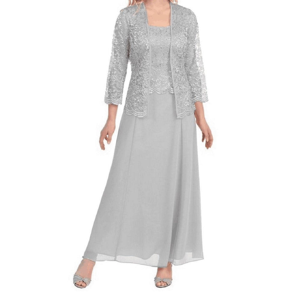 Floor Length Mother Of The Bride Dress With Jacket Tiered Pleat
