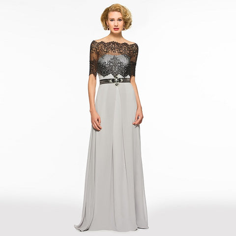 A-line long mother of the bride scalloped edge half sleeves Dress - FabFunBride