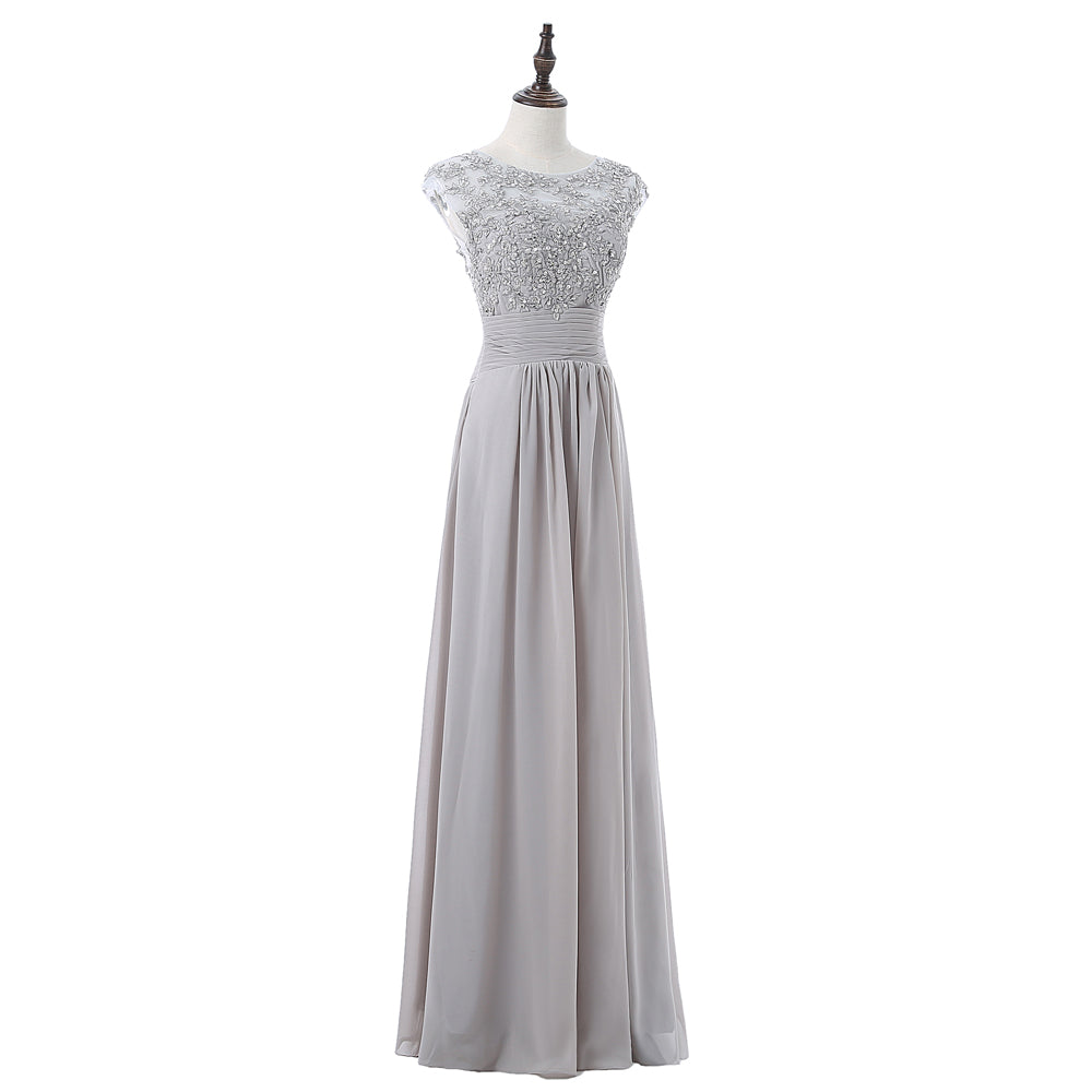 A-line Cap Sleeves Chiffon Lace Beaded Long Bridesmaid Dress - FabFunBride
