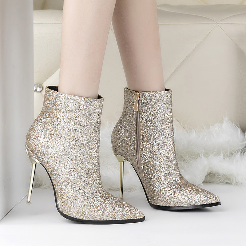 df4a418342e Pointed toe high heels shoes ankle boots Wedding - FabFunBride