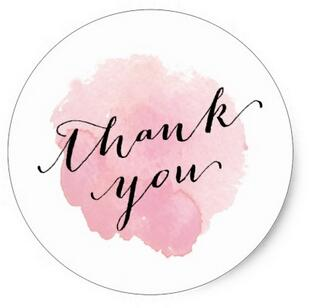 Watercolor Thank you sticker - FabFunBride