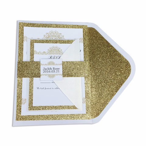 """Geonoa"" Luxury Gold Glitter Set - FabFunBride"