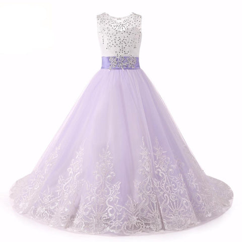 Beading Bows Lace Flower Girl Dresses - FabFunBride