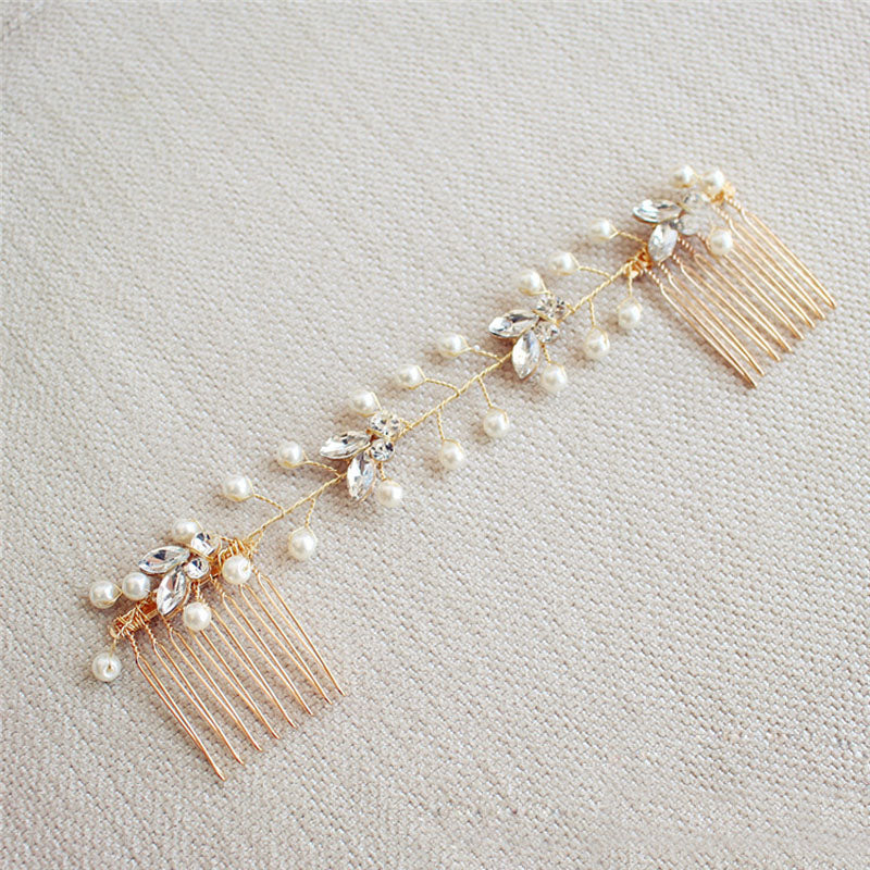 Crystal Rose Gold Pearl Head Piece - FabFunBride