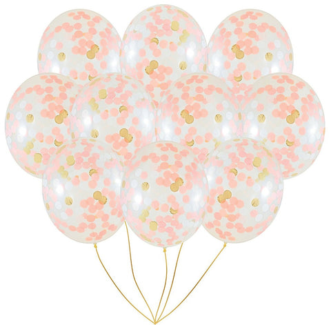 "10pcs Gold, Pink Confetti Balloons 12"" - FabFunBride"