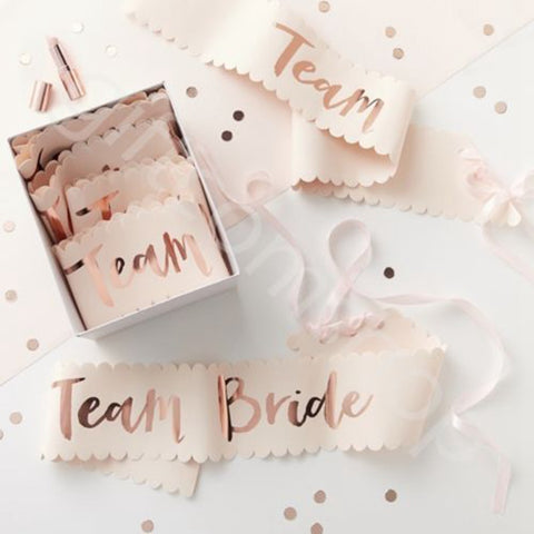 Rose Gold Team Bride Sash - FabFunBride