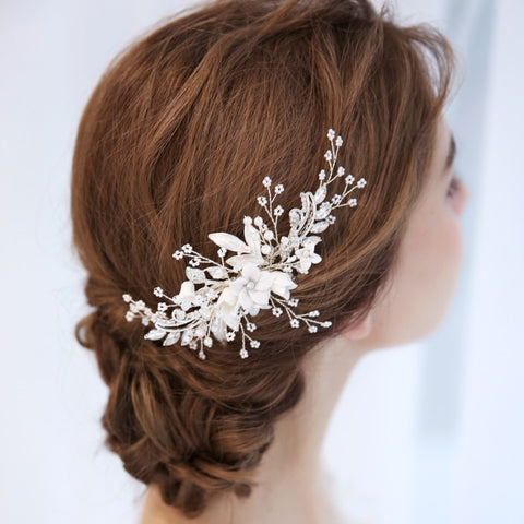 Ashley Floral Hair Comb - FabFunBride