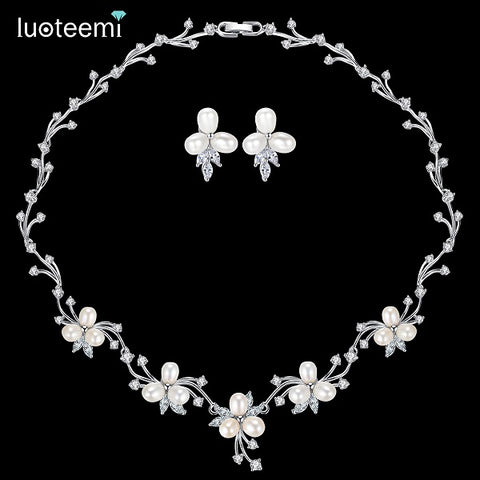 LUOTEEMI Luxury Freshwater Pearl Bridal Silver-Tone Flower Clear CZ Crystal Necklace Earrings Set For Women Anniversary Jewelry - FabFunBride
