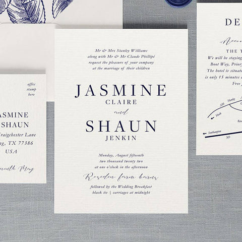 Navy Blue Elegant Invitations 100 pcs Custom Print - FabFunBride