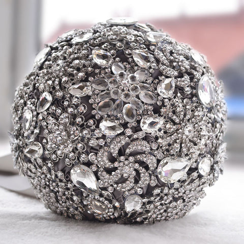 Luxurious Brooch bouquet Ivory Grey Crystal - FabFunBride